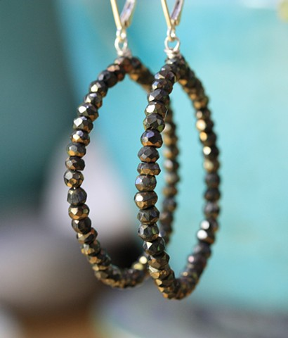 pyrite hoop earrings