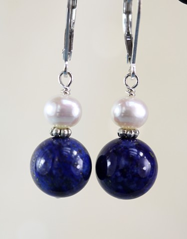 Lapis and pearl with sterling spacer earring
