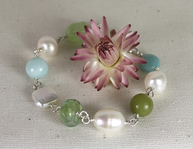 Amazonite, jade and pearl bracelet
