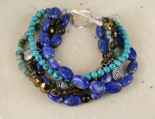 Five-strand bracelet with pyrite, lapis, turquoise