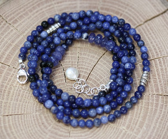 5 strand wrap with sodalite, tanzanite
