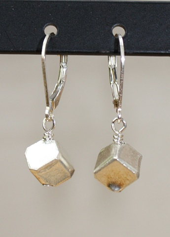 fine silver cube earrings
