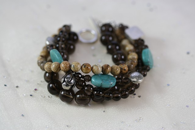 Smoky quartz, turquoise and silver multi strand bracelet