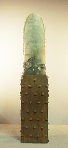 """A glass and cast iron sculpture that is one of the """"Sky"""" series"""