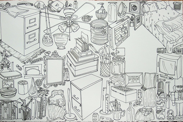 overconsumption, consumerism, ink drawing, contour