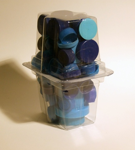 blue plastic container caps