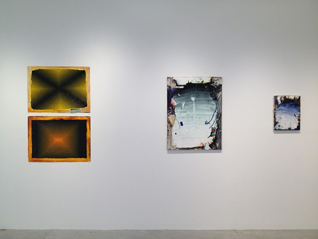 Installation view with two Paul Demuro paintings on the left