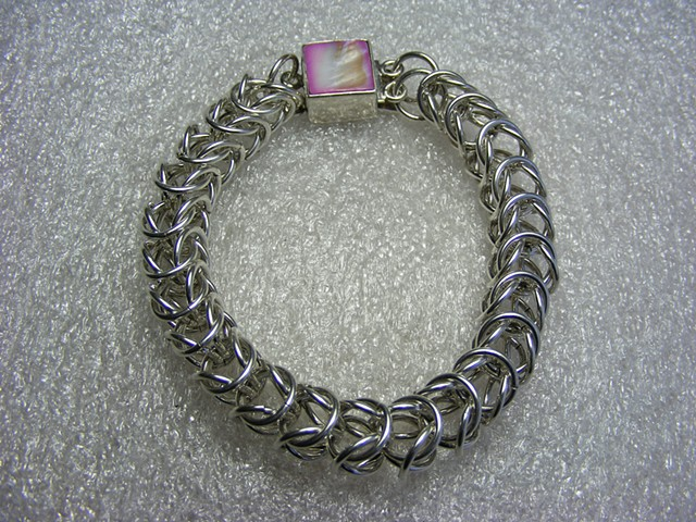 sterling silver, box chain, chainmaille, shell clasp