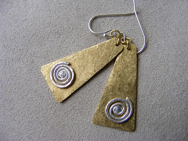 shield, linen finish, sterling spiral accent