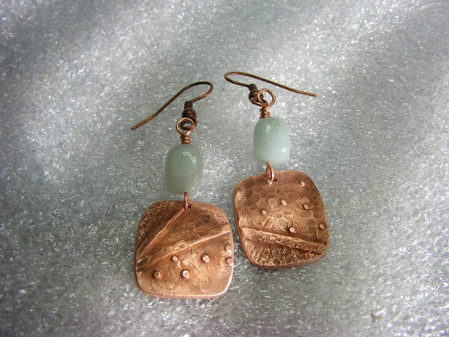 copper earrings, aventure beads, recycled