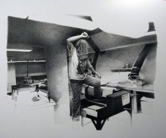 graphite, drawing, kimmel nelson harding art center, sean lyman, missouri state, art, low brow, landscape, black and gray, tonal, interior,