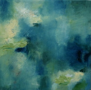 small abstract waterscape painting on board