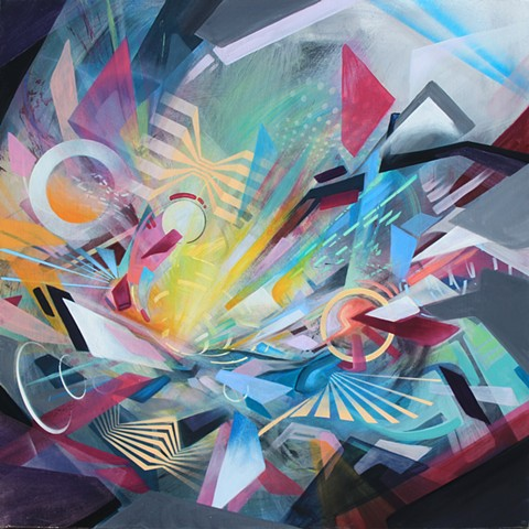 abstract art douglas kleinsmith geometric futuristic transhuman painting canvas psychedelic colorful beautiful cool colorful sacramento artist auburn graffiti enchanted forest still dream lucidity lightning in a bottle symbiosis festival keliiheleua moder