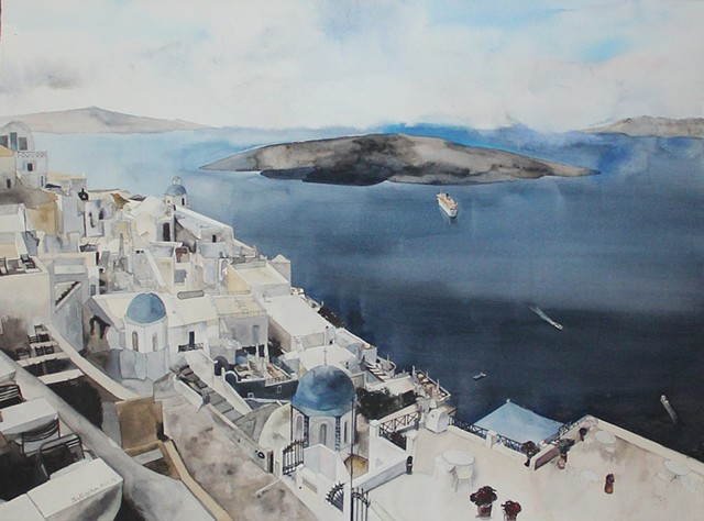 Deep Blue Santorini Watercolor