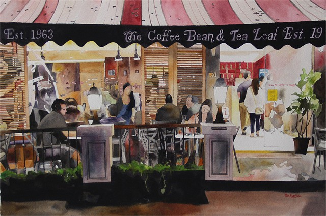 The Coffee Bean At Night Watercolor