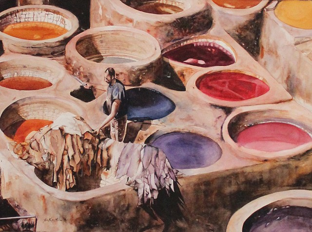 Morning Sun at Chaouwara Tannery Watercolor