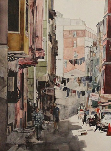 Taksim Alley Watercolor