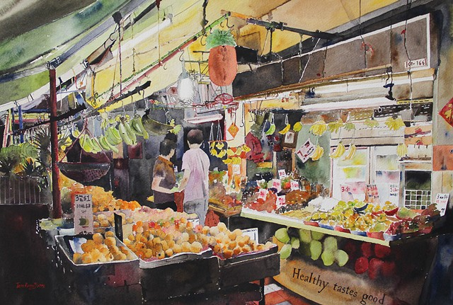 Fruit Seller Watercolor