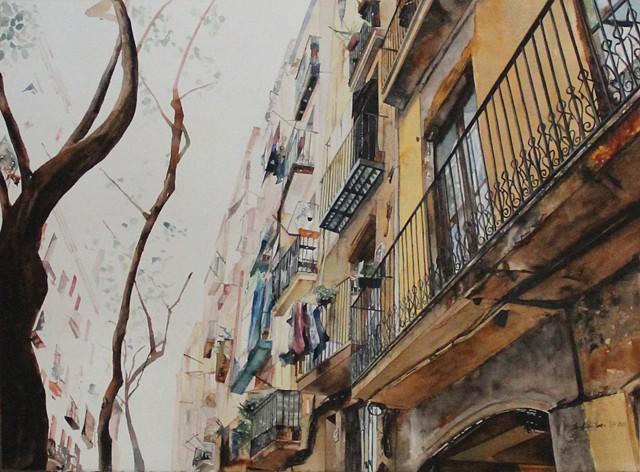 Street of Barcelona Watercolor