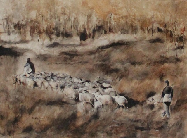 Shepherds and their Flock Watercolor