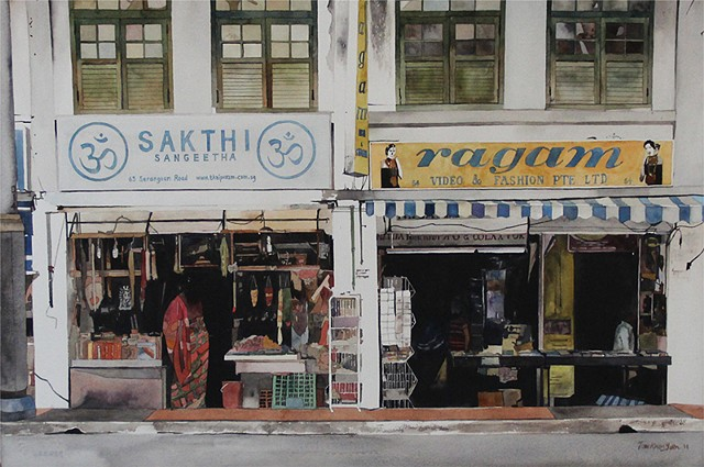 A Tale of Two Shops Watercolor