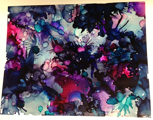 Purple, contemporary art, abstract art, water, watercolor, ink.