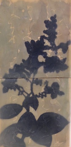 Encaustic, contemporary art, floral, flowers, shadows, collage.