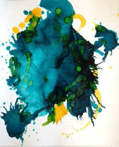 Turquoise, abstract art, contemporary art, watercolor, works on paper.