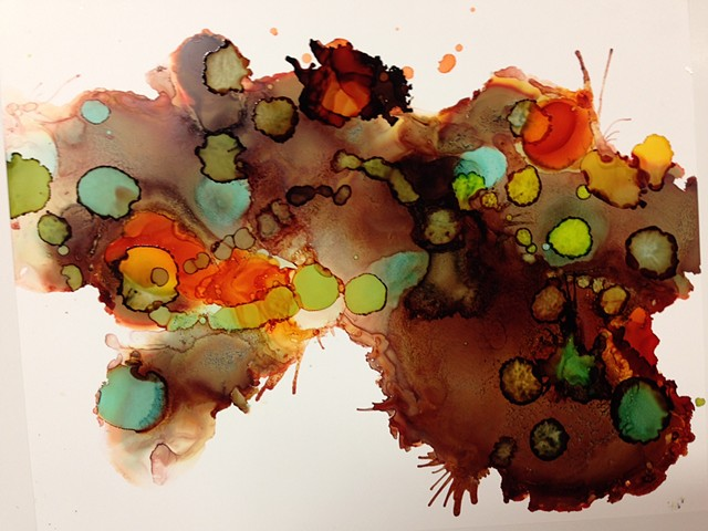 Water, ink, watercolor, contemporary art, abstract art.