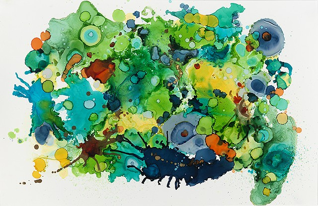 Contemporary art, abstraction, floral, botanical, ink.