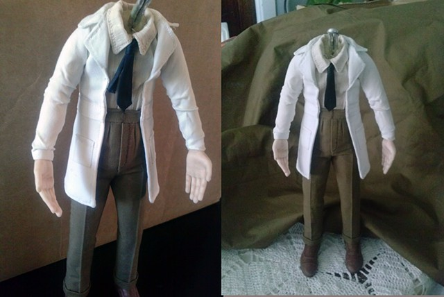 elderly doctor character stop motion armature white lab coat in miniature