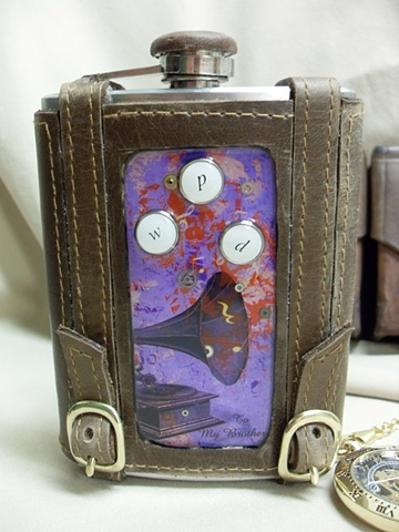 Phonograph Inset Flask
