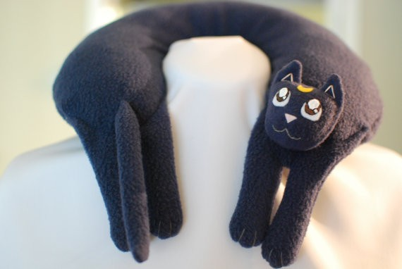luna from sailor moon fleece travel neck pillow handmade nerdy gift