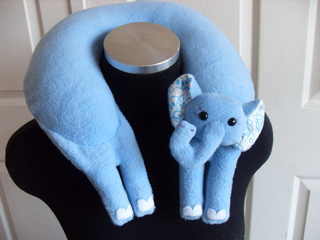 cute blue elephant plush fleece travel neck pillow
