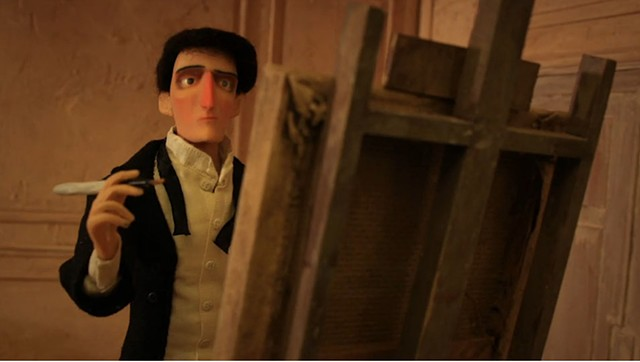 Stop motion film about an artist and his sitter or muse