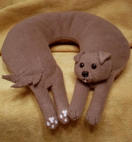 brown puppy plush fleece travel neck pillow