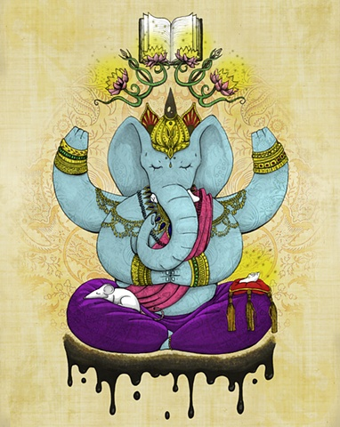The Hindu lord Ganesh, or Ganesha, is the remover of obstacles and the keeper of the written word.