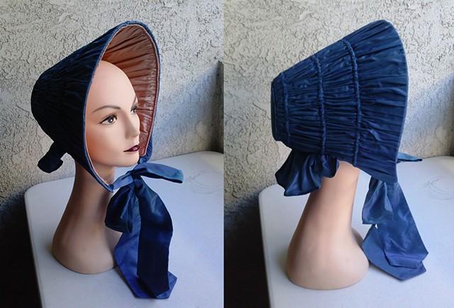 spoon bonnet civil war era handmade from blue and pink silk for a reenactment