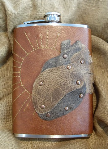 Stitched Sunburst Heart Flask
