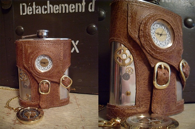 A leather bound steampunk style hip flask with a working clock and gears