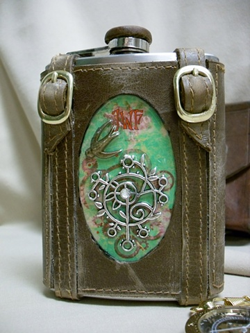 Green Inset Flask