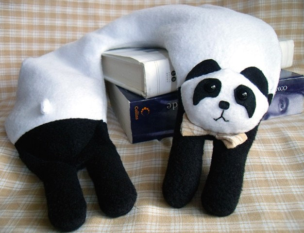 cute kawaii fleece panda travel neck pillow animal black and white