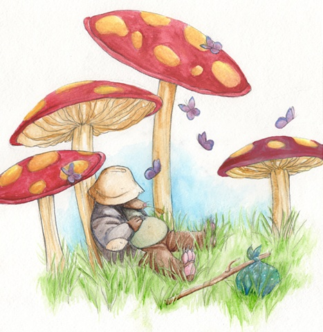 A hobo homeless mole sleeping underneath mushrooms