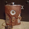 Steampunk Hip Flask with Working Clock