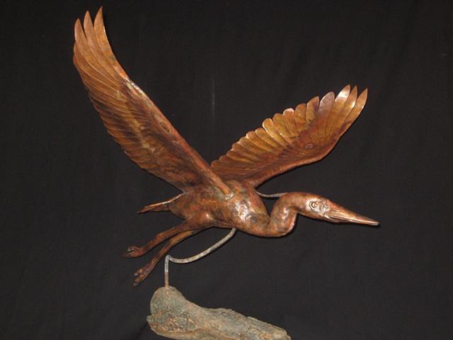 custom hand made heron hammered copper sculpture by  tim summerville artist