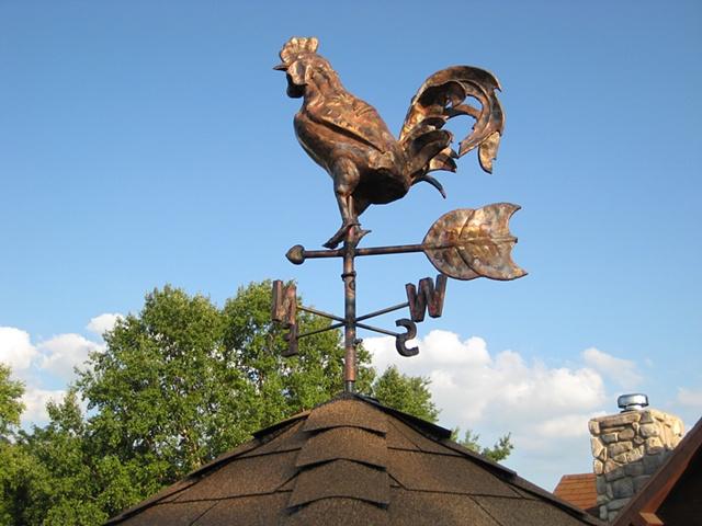 custom hand made hammered copper rooster weathervane by  tim summerville artist