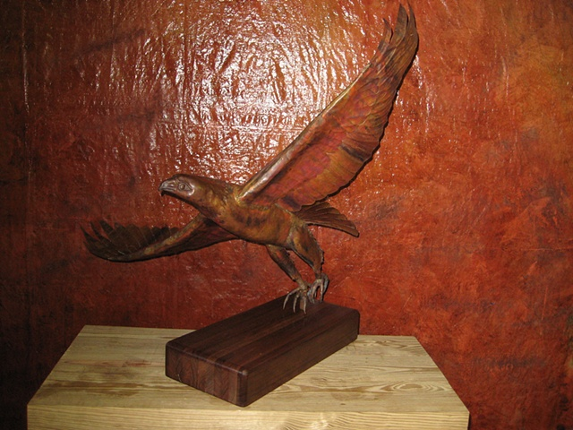 custom hand made hammered copper red tailed hawk by  tim summerville artist
