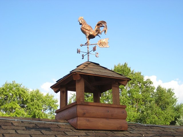 custom hand made hammered copper rooster weathervane by  tim summerville