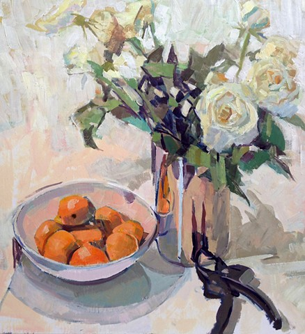 Still Life With Roses & Tangerines
