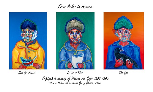 Triptych: Arles to Auvers plus additional portraits In memory of Vincent van Gogh. by Gerry Gleason 2015.